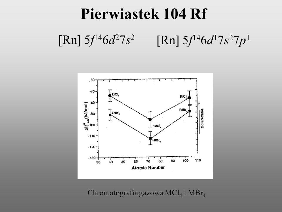 Pierwiastek 104 Rf [Rn] 5f146d27s2 [Rn] 5f146d17s27p1